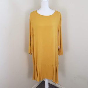 JustFab Flounce Hem Shift Dress Yellow Size XXL